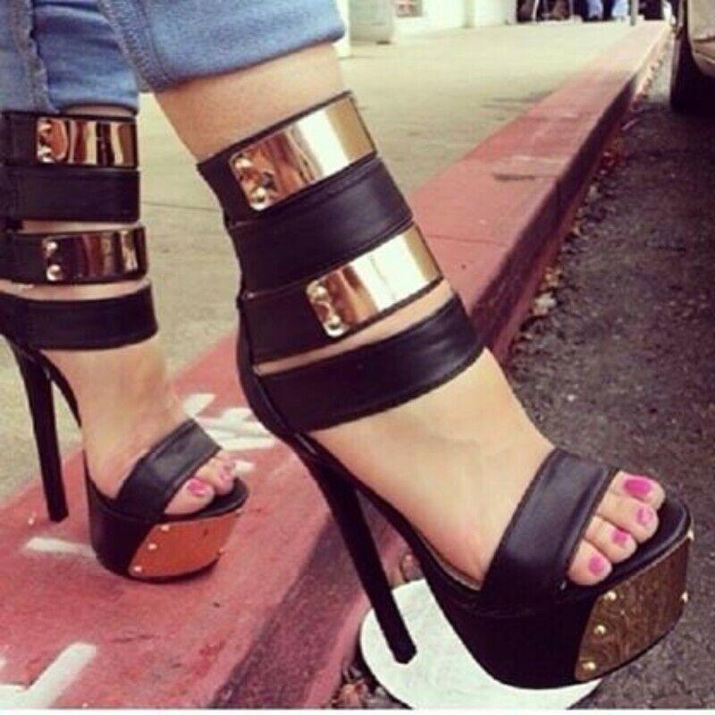 Pour femme sexy talons hauts Sandales Plateforme Talons Hauts chaussures noires Europe tous SZ Lit01