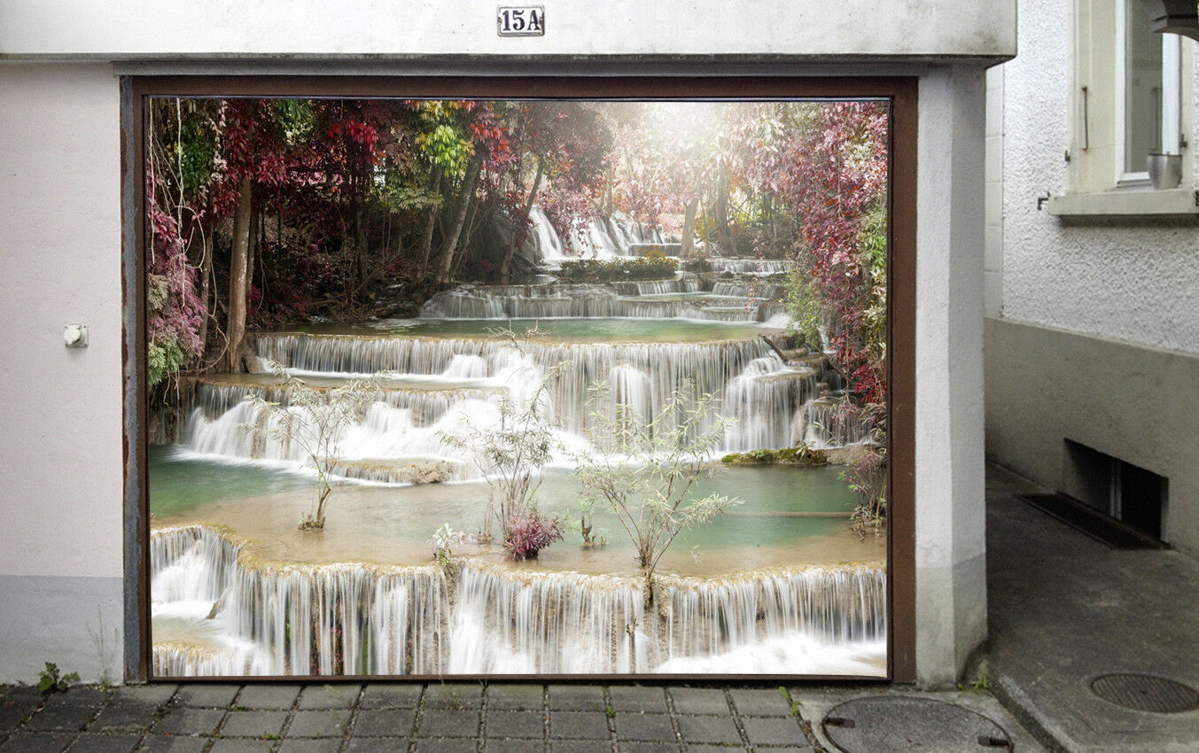 3D Stone Stream Shrub 5 Garage Door Murals Wall Print Wall AJ WALLPAPER UK Lemon