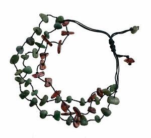 Armband Makramee Granat Und Jade Stein Echt und Perlen Handarbeit FS1B-21267