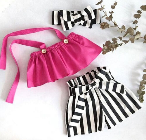 Summer Toddler Infant Baby Girl Kid T-shirt Blouse+Short Pants Outfit Clothes