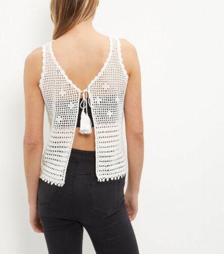 Medium /& Large New Look BNWT Cream Cotton Crochet Tie Back Vest Small