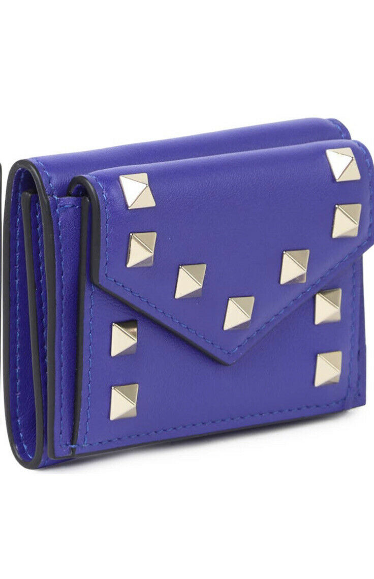 New Auth Valentino Garavani Leather Studded Card Holder Mini Trifold Wallet