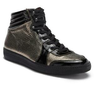New-in-Box-395-Mezlan-Elisio-Black-Gold-Leather-High-Top-Sneaker-Size-9-5