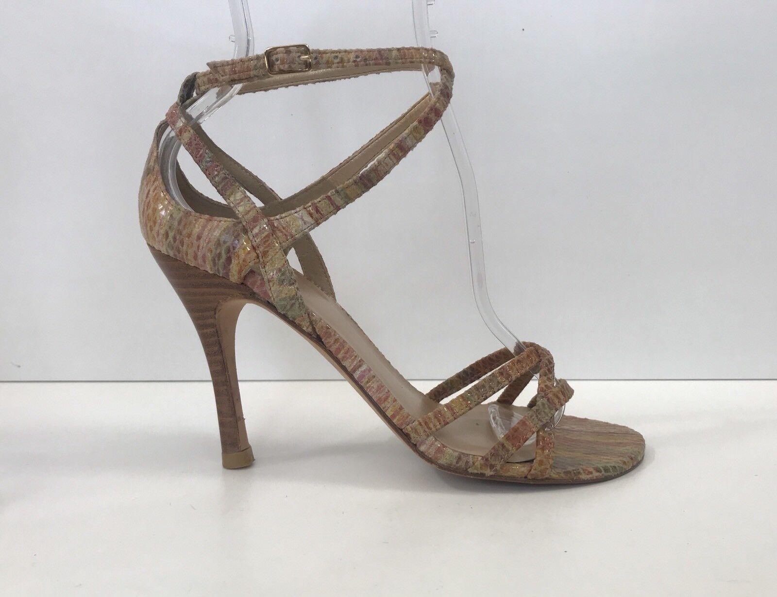 Stuart Weitzman Sz 6 Embossed Snake Leather Ankle Strap Sandal Sandal Sandal High Heel Pump ea3cd2