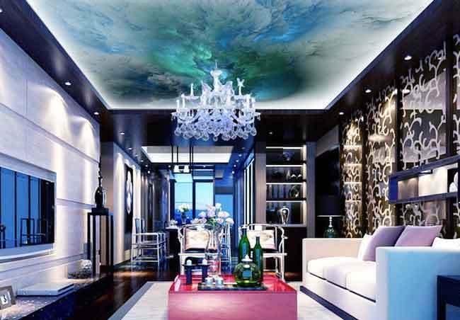 3D Turqoise Marble Clouds Pattern Wallpaper Ceiling Decals Wall Art Print