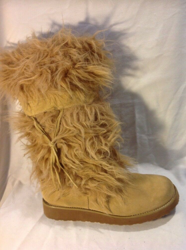 Barratts Brown Mid Calf Suede Boots Size 8