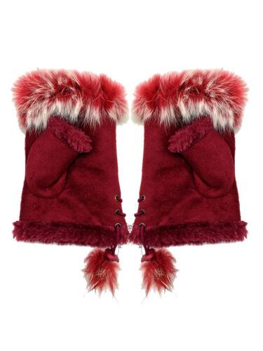 Mode Damen Fingerlos HANDSCHUHE Echt Kaninchen Fell Armstulpen Winter Warm