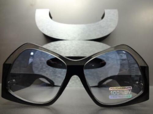 EXAGGERATED Funky RETRO Style SUN GLASSES Unique Unusual Shape Frame Blue Lens