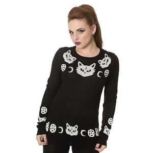Banned-White-Cat-amp-Crescent-Moon-amp-Pentagram-Knitted-Gothic-Witch-Black-Jumper