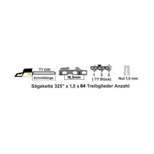 """1 Schwert 38cm 325/""""*1,5 passend für Jonsered Motorsäge 370 380 410 420 2 Ketten"""