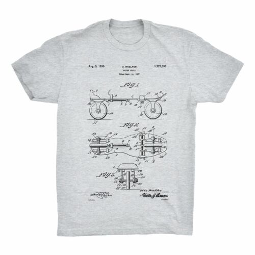 Roller Derby Patent Art Tee 100/% Soft Cotton Comfy Roller Skate Patent T-Shirt