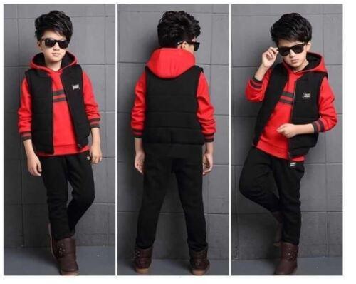 5-13 Y 3PCS Set Baby Boys Kids Infant Fashion Clothing Tracksuit Top+Pants+Vest
