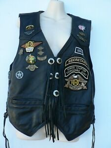 Vintage-Airborne-Female-Leather-Vest-With-Harley-Davidson-Club-Badges-Patches