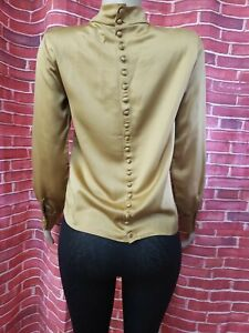 sincerely jules Gold Buttons Back High Neck LS Satiny Women's Top Sz M NEW  # C