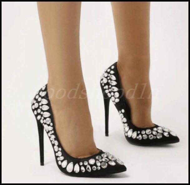Sexy femmes Rhinestone High Heels chaussures Stilettos Wedding Party Slip On chaussures SZ