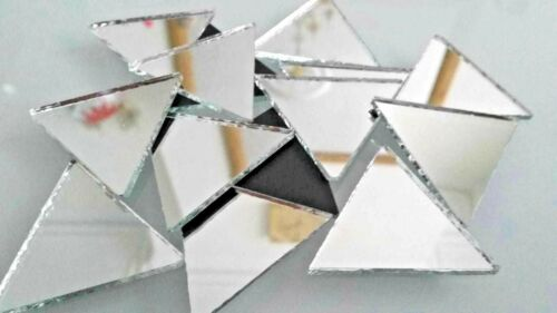 Mosaic SILVER Mirror Glass LARGE Triangular 3 x 3 x 3 cm 2mm thick 15 pcs
