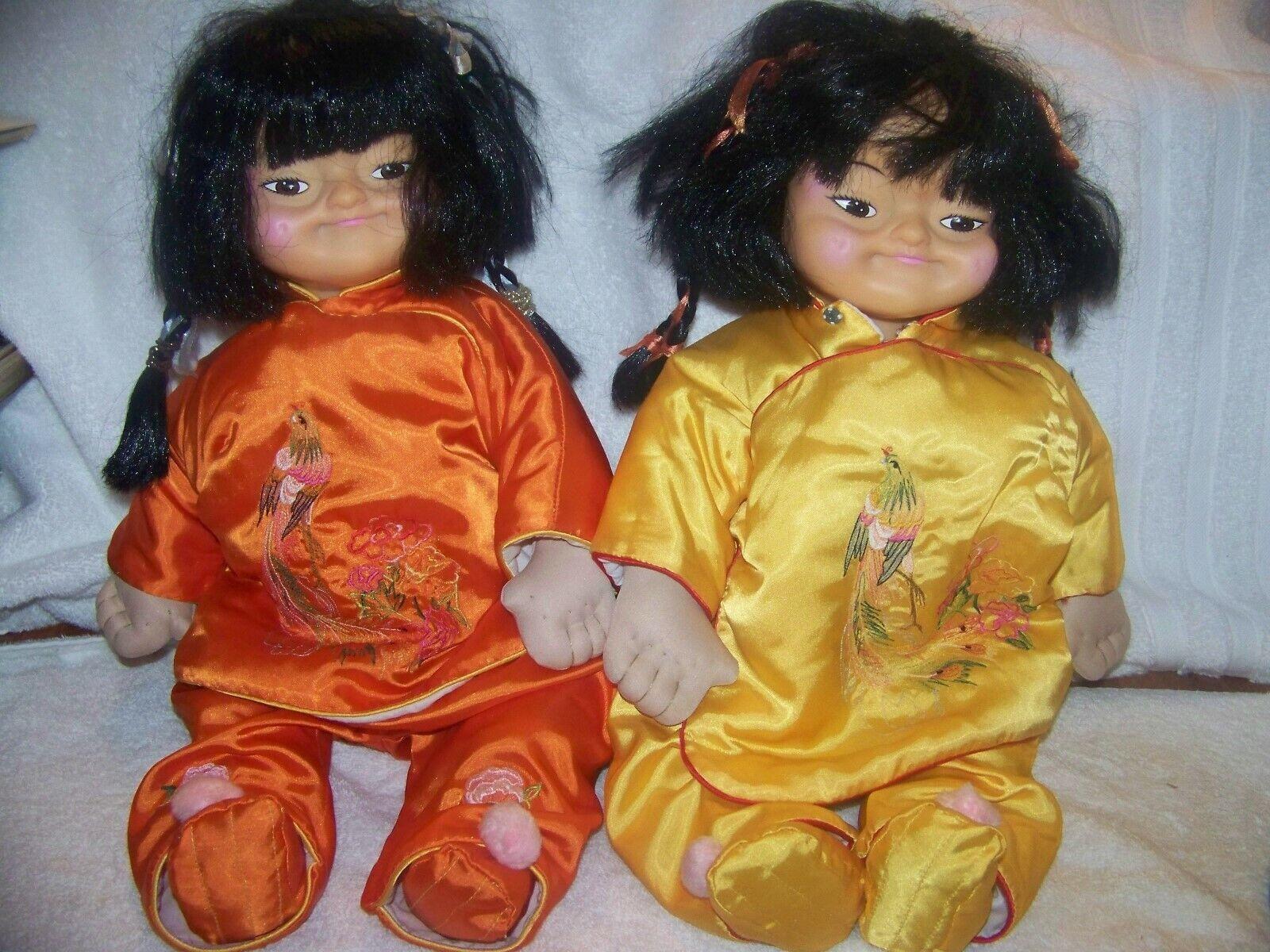 Pair Girl 21 Chau Yeung Dolls Hong Kong, traditional clothing braided pig tails
