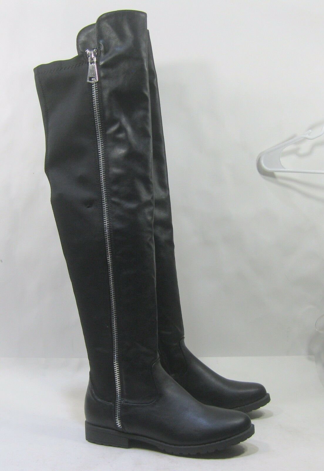 NEW Womens Black 1 Block Heel Over Knee Sexy Slim Stretch Boots Size 9