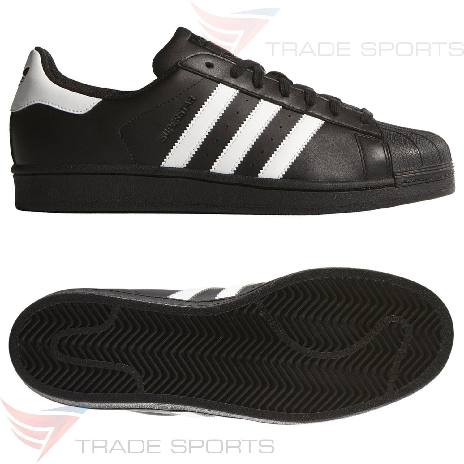 adidas ORIGINALS SUPERSTAR FOUNDATION TRAINERS Negro SNEAKERS RETRO RUN DMC Negro TRAINERS 82b937