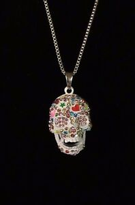 Betsey-Johnson-Necklace-Sugar-Skull-Silver-Multi-Color-Crystals-Gift-Box-Bag