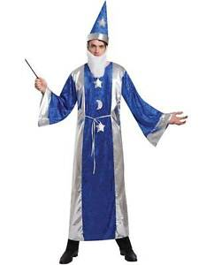 mens magican costume fancy dress robe hat beard wand outfit adult