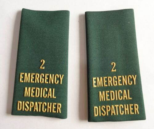 EMERGENCY MEDICAL DISPATCHER EMD NHS Paramedic Ambulance Epaulette Slides B2 X2
