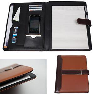 Schreibmappe-Dokumentenmappe-Aktenmappe-DIN-A4-incl-Schreibblock-Lederoptik-NEU