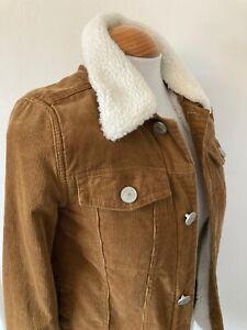 Girls-Age-11-Yrs-River-Island-Brown-Corduroy-Faux-Sheepskin-Collar-Denim-Jacket