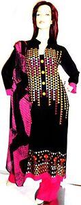 Hijab Suit indiano Black Designer Pakistani Shalwar Eid 12 Salwar Abaya Kameez Uk zIwB8