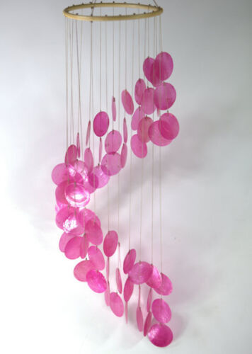Pink Capiz windchime NEW garden bedroom bathroom mobile Large