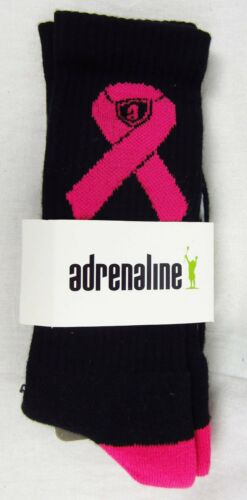 Adrenaline Athletic Socks Black and Pink Breast Cancer Awareness OSFM Lacrosse