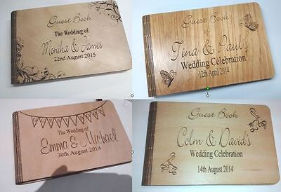 Laser Engraved WOODEN GUEST BOOK ALBUM WEDDING ANNIVERSARY BIRTHDAY