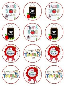 Thankyou   Edible Cake Toppers Wafer Icing cupcake x 12 Decoration