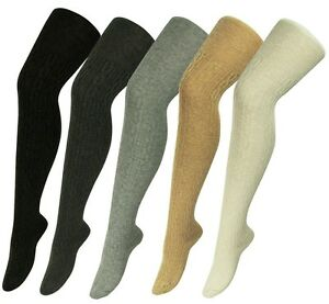 5a9a5ab18b0 Details about Women s Soft Touch Cable Knit Ribbed Wool Blend Thigh High  Over Knee Long Socks