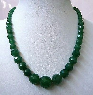 Pretty 6-14mm Faceted Natural Emerald Round Beads Gems Necklace 18''