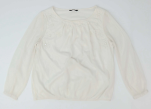 M-amp-Co-White-Floral-Womens-Blouse-Size-12-Regular