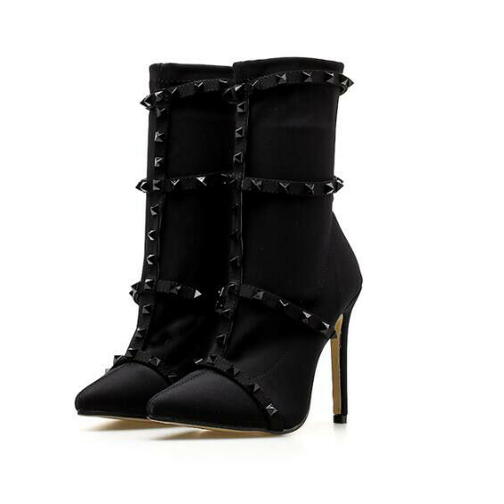 botas stivaletti stiletto eleganti bassi negro spillo eleganti stiletto 11 cm simil pelle 1391 99144d