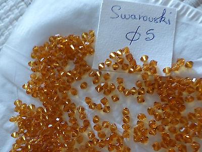 lot 120 perle anciennes en verre forme toupie bicône orange diam  5 mm