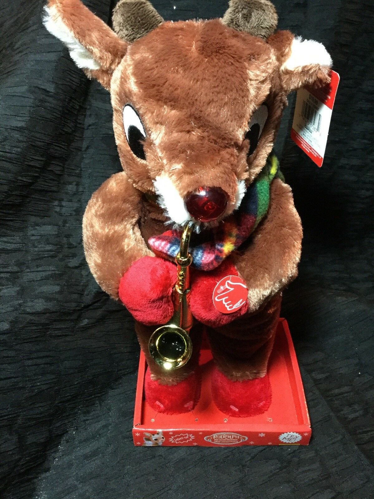 Animated Rudolph Reindeer Christmas Plush NEW Saxophone Playing Theme Song Light
