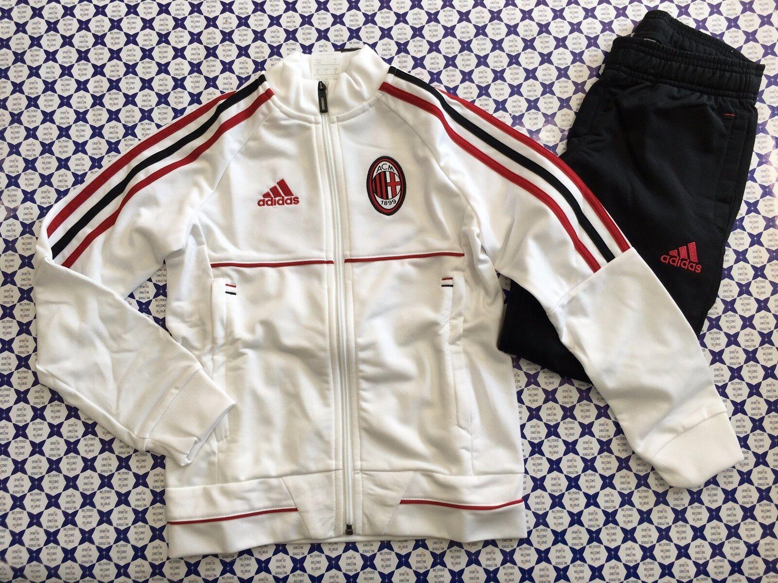 Tuta Felpa Pantaloni Acetato Adidas AC MILAN Bimbo  Bianco Nero Rosso  AZ7115