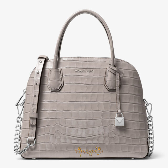 72e2ce7e2ce0b Frequently bought together. MICHAEL KORS MERCER LARGE DOME SATCHEL EMBOSSED  LEATHER BAG ...
