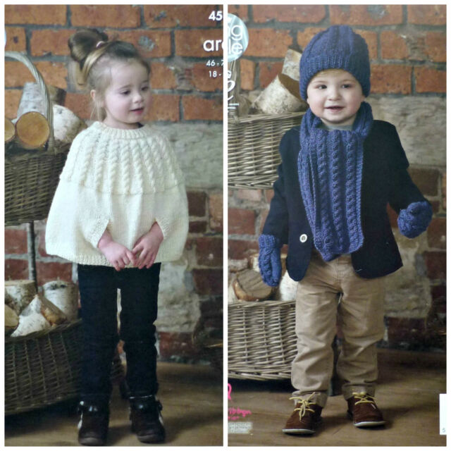 King Cole 4560 Knitting Pattern Childrens Cape Scarf Hat Mittens