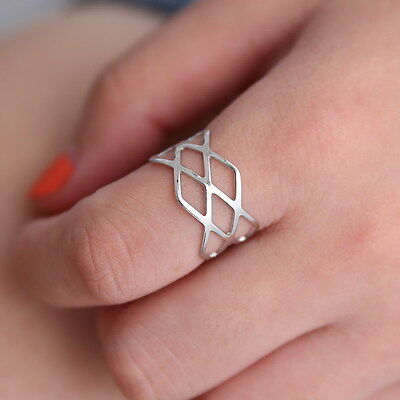 Crossed Punk Urban Silver Plated Stack Plain Above Knuckle Band Midi Ring Hot