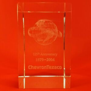 CHEVRON TEXACO 3D Etched Crystal Glass 125TH Anniversary 1879-2004 Paperweight