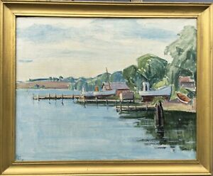 Oil-Painting-Boats-At-Shore-Port-Maritime-Monogram-Jetty-Beach-20-7-8x25-5-8in