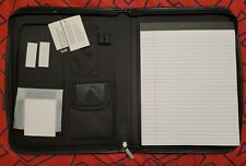 Leeds Zippered Portfolio Organizer Binder Card Folder With Pockets Notepad