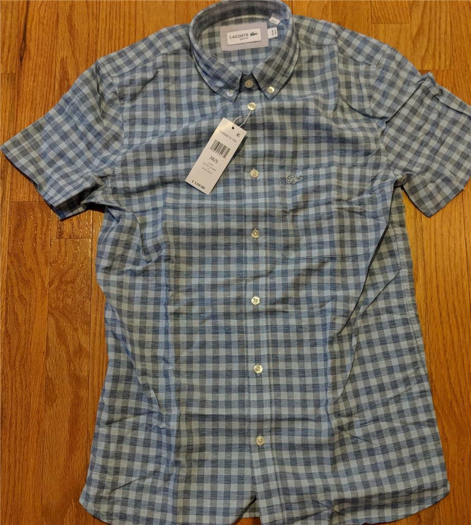 Authentic Lacoste Gingham Cotton Linen SS Button Up Shirt Light bluee 42 Large