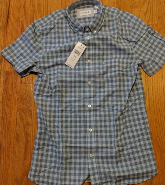 511ac3d039f8d6 Authentic Lacoste Gingham Cotton Linen SS Button Up Shirt Light Blue 42  Large