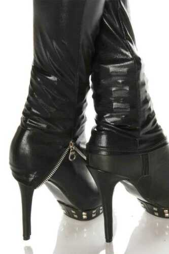 nzende gl Metallgamaschen XsSMLXL schwarze Glamour Zip Sexy Moda mNynO0v8w