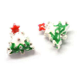 25pcs Alloy Enamel European Beads Christmas Tree Large Hole Charms Green 15x13mm